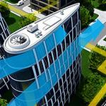 Power-Generating Buildings Concept Illustration