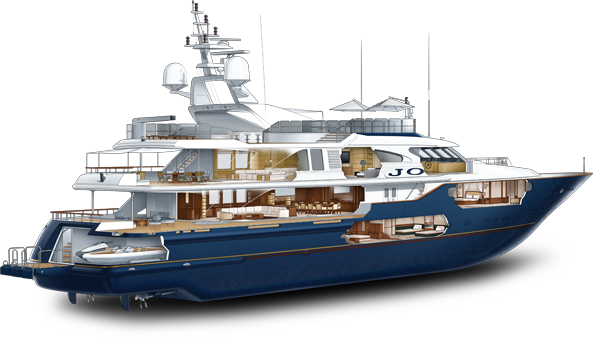 Luxury Yacht Cutaway Illustration