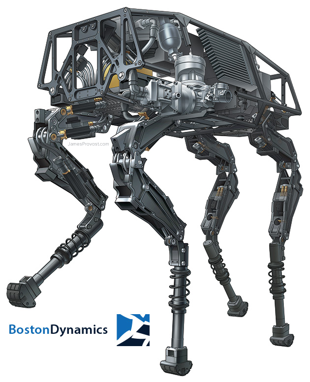 Boston Dynamics BigDog Robot Illustration