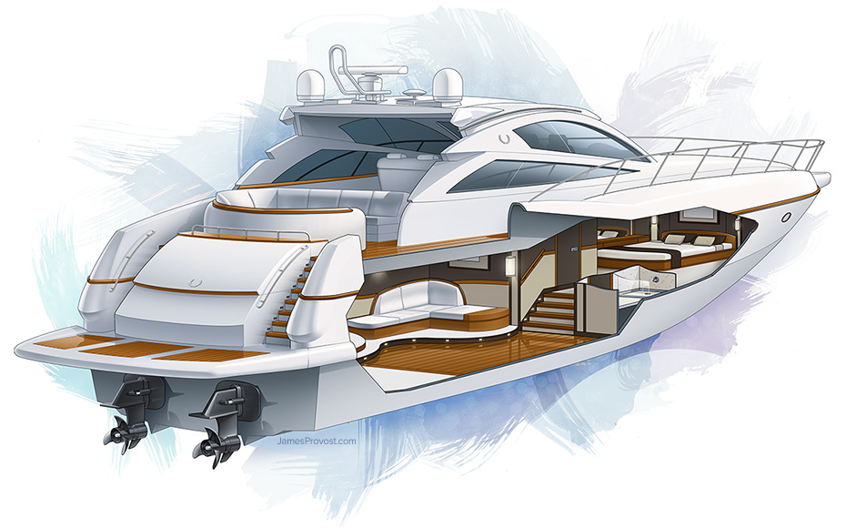 Motor Yacht Cutaway | James Provost - Technical Illustrator