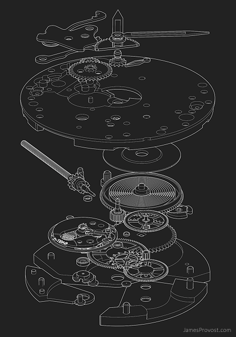 Exploded Watch Movement