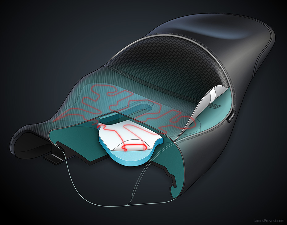 Heated Motorcycle Seat Cutaway Illustration