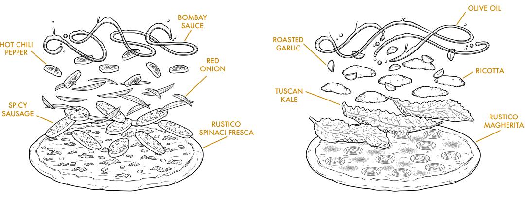 Exploded Pizza Illustration
